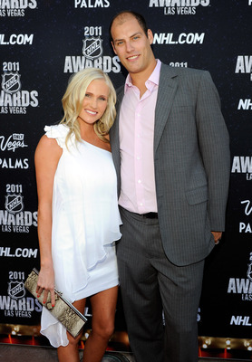 LAS VEGAS, NV - JUNE 22:  Ryan Getzlaf (R) of the Anaheim Ducks and his wife Paige Getzlaf arrive at the 2011 NHL Awards at the Palms Casino Resort June 22, 2011 in Las Vegas, Nevada.  (Photo by Ethan Miller/Getty Images)