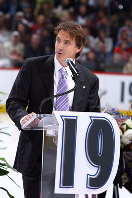 DENVER - OCTOBER 1: Joe Sakic addresses the crowd as his number is retired by the Colorado Avalanche and hoisted to the rafters in a pregame ceremony at the Pepsi Center on October 1, 2009 in Denver, Colorado. NOTE TO USER: User expressly acknowledges and