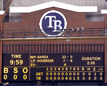 ST. PETERSBURG - JULY 26:  The scoreboard after the game between the Tampa Bay Rays of the Detroit Tigers where Matt Garza #22 threw a no hitter at Tropicana Field on July 26, 2010 in St. Petersburg, Florida. Tampa Bay beat Detroit 5-0.  (Photo by J. Meri