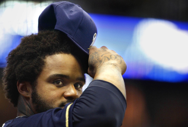 MILWAUKEE, WI - AUGUST 13:  Prince Fielder #28 of the Milwaukee Brewers tips his hat to the crowd during game action against the Pittsburgh Pirates at Miller Park on August 13, 2011 in Milwaukee, Wisconsin. The Milwaukee Brewers defeated the Pittsburgh Pi
