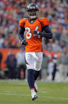 DENVER - NOVEMBER 14:  Wide receiver Brandon Lloyd #84 of the Denver Broncos heads to the line of scrimmage against the Kansas City Chiefs at INVESCO Field at Mile High on November 14, 2010 in Denver, Colorado. The Broncos defeated the Chiefs 49-29.  (Pho