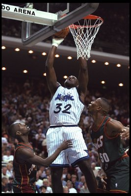 5 Jan 1996:  Center Shaquille O'Neal of the Orlando Magic goes up for a basket against the Seattle Supersonics during a game played at the Orlando Arena in Orlando, Florida.  The Magic won the game, 115-93. Mandatory Credit: ALLSPORT USA  /Allsport