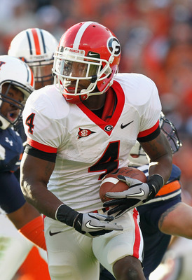 AUBURN, AL - NOVEMBER 13:  Caleb King #4 of the Georgia Bulldogs against the Auburn Tigers at Jordan-Hare Stadium on November 13, 2010 in Auburn, Alabama.  (Photo by Kevin C. Cox/Getty Images)