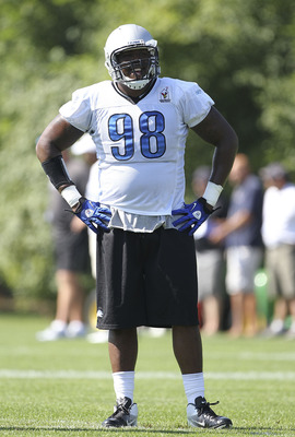 ALLEN PARK, MI - JULY 30:  Nick Fairley #98 of the Detroit Lions takes a break during training camp at the Lions facility on July 30, 2011 in Allen Park, Michigan.  (Photo by Leon Halip/Getty Images)