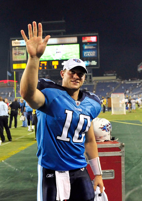 NASHVILLE, TN - AUGUST 13:  Quarterback Jake Locker #10 of the Tennessee Titans waves to fans after a preseason game against the Minnesota Vikingsat LP Field on August 13, 2011 in Nashville, Tennessee. Tennessee defeated Minnestoa, 14-3. (Photo by Grant H