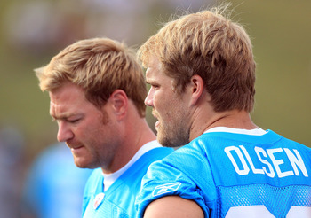 SPARTANBURG, SC - JULY 30:  Teammates Jeremy Shockey #80 and Greg Olsen #88 of the Carolina Panthers watch on during training camp at Wofford College on July 30, 2011 in Spartanburg, South Carolina.  (Photo by Streeter Lecka/Getty Images)