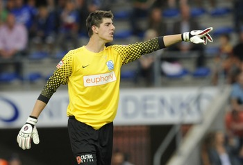 GENK, BELGIUM - AUGUST 1:  Goalkeeper Thibaut Courtois of KRC Genk shouts during the Belgian Jupiler Pro League match between KRC Genk and KFC Germinal Beerschot at Fenix Stadium on August 1, 2010 in Genk, Belgium. (Photo by EuroFootball/Getty Images)