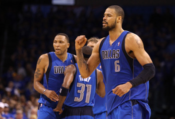 OKLAHOMA CITY, OK - MAY 23:  Tyson Chandler #6 of the Dallas Mavericks reacts in overtime before the Mavericks defeated the Oklahoma City Thunder 112-105 in overtime in Game Four of the Western Conference Finals during the 2011 NBA Playoffs at Oklahoma Ci