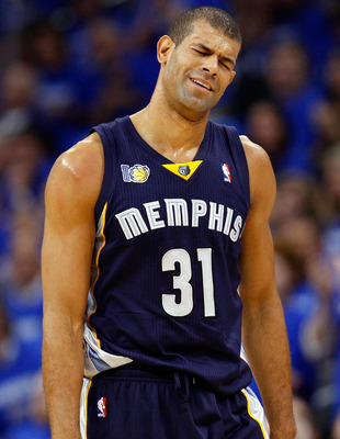 OKLAHOMA CITY, OK - MAY 03:  Forward Shane Battier #31 of the Memphis Grizzlies reacts during a 111-102 loss against the Oklahoma City Thunder in Game Two of the Western Conference Semifinals in the 2011 NBA Playoffs on May 3, 2011 at Oklahoma City Arena