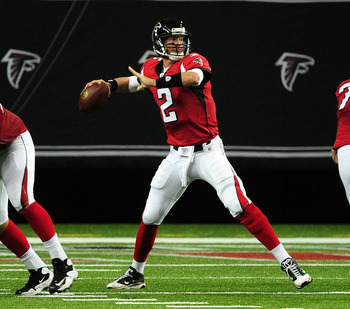 ATLANTA - AUGUST 12: Matt Ryan #2 of the Atlanta Falcons passes against the Miami Dolphins during a preseason game at the Georgia Dome on August 12, 2011 in Atlanta, Georgia. (Photo by Scott Cunningham/Getty Images)