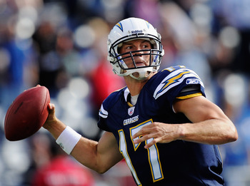 SAN DIEGO, CA - AUGUST 11: Philip Rivers #17 of the San Diego Chargers throws a pass in the first quarter against the Seattle Seahawks during the NFL preseason game at Qualcomm Stadium on August 11, 2011 in San Diego, California.  (Photo by Kevork Djansez