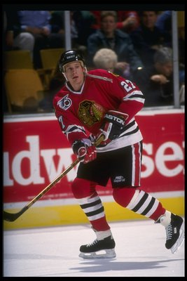 22 Nov 1991:  Center Jeremy Roenick of the Chicago Blackhawks moves down the ice during a game against the Buffalo Sabres at Memorial Auditorium in Buffalo, New York. Mandatory Credit: Rick Stewart  /Allsport