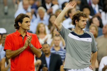 NEW YORK - SEPTEMBER 08:  Roger Federer of Switzerland and Andy Murray of the United Kingdom stand on the court after Federer won the 2008 U.S. Open Men's Championship Match in Arthur Ashe Stadium at the USTA Billie Jean King National Tennis Center on Sep
