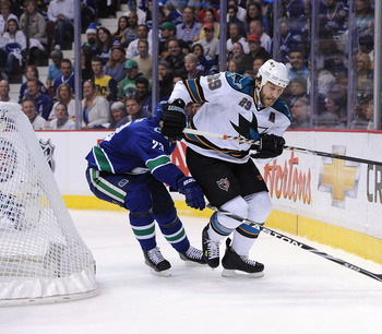VANCOUVER, CANADA - MAY 24: Ryane Clowe #29 of the San Jose Sharks skates after the puck behind the net in Game Five of the Western Conference Finals against the Vancouver Canucks during the 2011 Stanley Cup Playoffs at Rogers Arena on May 24, 2011 in Van