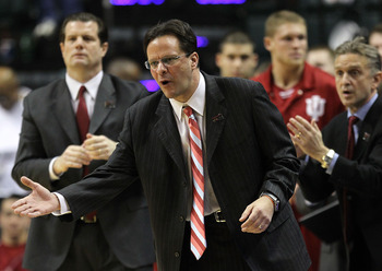 INDIANAPOLIS, IN - MARCH 10:  Head coach Tom Crean of the Indiana Hoosiers coaches against the Penn State Nittany Lions during the first round of the 2011 Big Ten Men's Basketball Tournament at Conseco Fieldhouse on March 10, 2011 in Indianapolis, Indiana