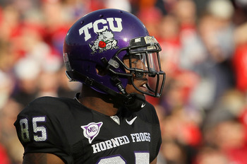 PASADENA, CA - JANUARY 01:  Wide receiver Jeremy Kerley #85 of the TCU Horned Frogs looks on against the Wisconsin Badgers in the 97th Rose Bowl game on January 1, 2011 in Pasadena, California.  (Photo by Stephen Dunn/Getty Images)