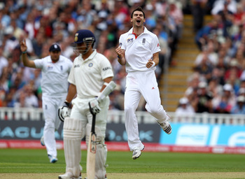 BIRMINGHAM, ENGLAND - AUGUST 13:  James Anderson of England celebrates taking the wicket of VVS Laxman of India during day four of the 3rd npower Test at Edgbaston on August 13, 2011 in Birmingham, England.  (Photo by Richard Heathcote/Getty Images)