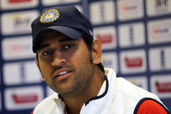 LONDON, ENGLAND - AUGUST 17:  Captain, Mahendra Singh Dhoni speaks during the press conference prior to India Nets Session held at The Kia Oval on August 17, 2011 in London, England.  (Photo by Dean Mouhtaropoulos/Getty Images)