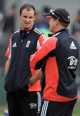 BIRMINGHAM, ENGLAND - AUGUST 09:  England captain Andrew Strauss speaks with coach Andy Flower during a nets session at Edgbaston on August 9, 2011 in Birmingham, England.  (Photo by Gareth Copley/Getty Images)