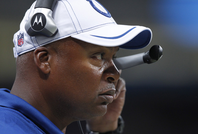 ST. LOUIS, MO - AUGUST 13: Indianapolis Colts head coach Jim Caldwell looks on during the NFL preseason game against the St. Louis Rams at Edward Jones Dome on August 13, 2011 in St. Louis, Missouri. The Rams won 33-10. (Photo by Joe Robbins/Getty Images)