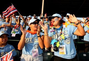 WILLIAMSPORT, PA - AUGUST 24:  Fans celebrate as the United States scores four runs in the fifth inning against Mexico during the Little League World Series Championship game at Lamade Stadium on August 24, 2008 in Williamsport, Pennsylvania. The United S