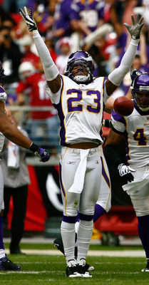 GLENDALE, AZ - DECEMBER 14:  Cedric Griffin #23 of the Minnesota Vikings celebrates after intercepting a pass in the first quarter against the Arizona Cardinals at the University of Phoenix Stadium on December 14, 2008 in Glendale, Arizona. The Vikings de