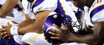NASHVILLE, TN - AUGUST 13:  Donovan McNabb #5 of the Minnesota Vikings talks with teammate Adrian Peterson #28 during the fourth quarter of a preseason game against the Tennessee Titans at LP Field on August 13, 2011 in Nashville, Tennessee. Tennessee def