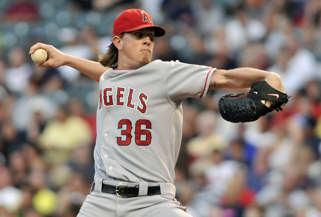 CLEVELAND, OH - JULY 26: Starting pitcher Jered Weaver #36 of the Los Angeles Angels pitches during the fifth inning against the Cleveland Indians at Progressive Field on July 26, 2011 in Cleveland, Ohio. (Photo by Jason Miller/Getty Images)