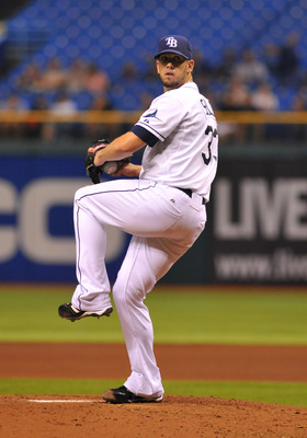 ST. PETERSBURG, FL - AUGUST 9:  Pitcher James Shields #33 of the Tampa Bay Rays starts against the Kansas City Royals August 9, 2011 at Tropicana Field in St. Petersburg, Florida. (Photo by Al Messerschmidt/Getty Images)