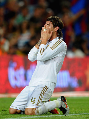 BARCELONA, SPAIN - AUGUST 17: Sergio Ramos of Real Madrid shows his frustration after a missed chance during the Super Cup second leg match between Barcelona and Real Madrid at Nou Camp on August 17, 2011 in Barcelona, Spain.  (Photo by Laurence Griffiths