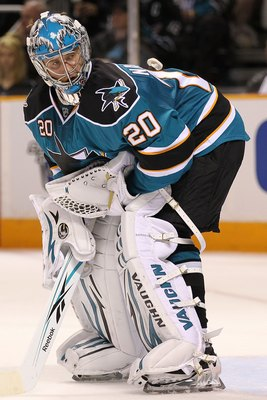 SAN JOSE, CA - MAY 18:  Goaltender Evgeni Nabokov #20 of the San Jose Sharks looks on while taking on the Chicago Blackhawks in Game Two of the Western Conference Finals during the 2010 NHL Stanley Cup Playoffs at HP Pavilion on May 18, 2010 in San Jose,