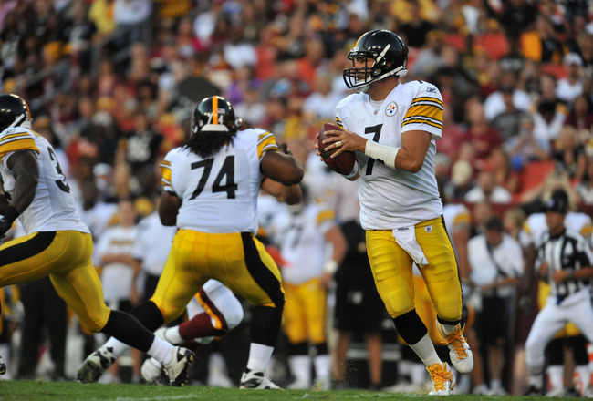 LANDOVER, MD - AUGUST 12:  Ben Roethlisberger #7 of the Pittsburgh Steelers looks to pass against the Washington Redskins at FedExField on August 12, 2011 in Landover, Maryland. The Redskins are tied with the Steelers 7-7 at the half. (Photo by Larry Fren