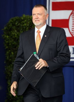 COOPERSTOWN, NY - JULY 24:  Inductee Bert Blyleven is introduced at Clark Sports Center during the Baseball Hall of Fame induction ceremony on July 24, 2011 in Cooperstown, New York. Blyleven finished his 22 season career with 3,701 strikeouts (fifth on t