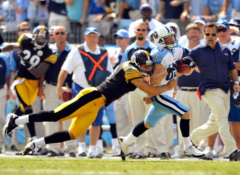 NASHVILLE, TN - SEPTEMBER 19:  Punter Daniel Sepulveda #9 of the Pittsburgh Steelers  makes a touchdown-saving tackle on Marc Mariani #81 of the Tennessee Titans during the first half at LP Field on September 19, 2010 in Nashville, Tennessee.  (Photo by G
