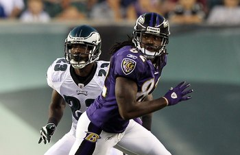 PHILADELPHIA, PA - AUGUST 11:  Dominique Rodgers-Cromartie #23 of the Philadelphia Eagles defends Torrey Smith #82 of the Baltimore Ravens during their pre season game on August 11, 2011 at Lincoln Financial Field in Philadelphia, Pennsylvania.  (Photo by