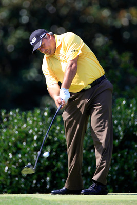 JOHNS CREEK, GA - AUGUST 11:  Angel Cabrera of Argentina hits a tee shot on the third hole during the first round of the 93rd PGA Championship at the Atlanta Athletic Club on August 11, 2011 in Johns Creek, Georgia.  (Photo by Sam Greenwood/Getty Images)