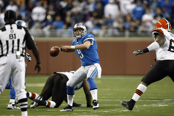 DETROIT, MI - NOVEMBER 22: Matthew Stafford #9 of the Detroit Lions passes the football against the Cleveland Browns at Ford Field on November 22, 2009 in Detroit, Michigan. Pass interference was called on the pass as time expired, giving the Lions one la