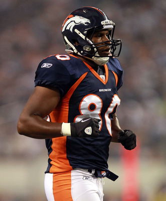 ARLINGTON, TX - AUGUST 11:  Julius Thomas #80 of the Denver Broncos at Cowboys Stadium on August 11, 2011 in Arlington, Texas.  (Photo by Ronald Martinez/Getty Images)