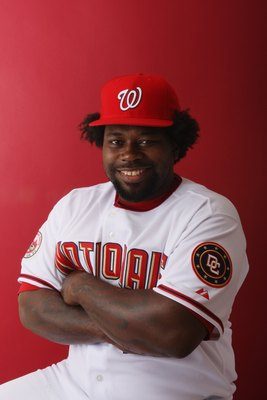 VIERA, FLORIDA - FEBRUARY 23:  Dmitri Young #21 of the Washington Nationals poses during Photo Day on February 23, 2008 at Space Coast Stadium in Viera, Florida.  (Photo by Elsa/Getty Images)