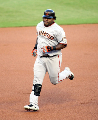 MIAMI GARDENS, FL - AUGUST 12:  Pablo Sandoval #48 of the San Francisco Giants runs the bases after hitting a home run against the Florida Marlins at Sun Life Stadium on August 12, 2011 in Miami Gardens, Florida.  (Photo by Marc Serota/Getty Images)