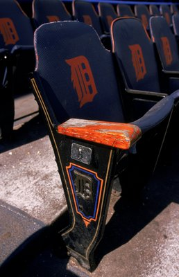 27 Sep 1999:  A close-up view of a seat in the stadium taken during the last game played at the Tiger Stadium against the Kansas City Royals in Detroit, Michigan. The Tigers defeated the Royals 8-2. Mandatory Credit: Ezra O. Shaw  /Allsport