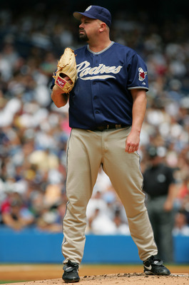 NEW YORK - JUNE 13:  David Wells #33 of the San Diego Padres stands on the mound during the interleague game against the New York Yankees on June 13, 2004 at Yankee Stadium in the Bronx, New York. The Yankees won 6-5 in the12th inning.  (Photo by Ezra Sha