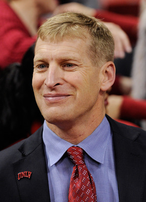 LAS VEGAS, NV - FEBRUARY 02:  UNLV Rebels head football coach Bobby Hauck attends the UNLV basketball game against the Utah Utes at the Thomas & Mack Center February 2, 2011 in Las Vegas, Nevada. UNLV won 67-54.  (Photo by Ethan Miller/Getty Images)