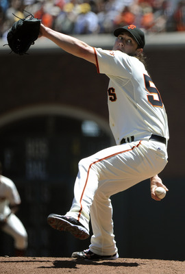 SAN FRANCISCO, CA - JULY 20: Tim Lincecum #55 of the San Francisco Giants pitches against the Los Angeles Dodgers in the second inning during an MLB baseball game at AT&T Park July 20, 2011 in San Francisco, California. (Photo by Thearon W. Henderson/Gett