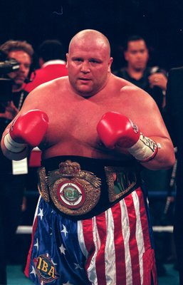 18 Sep 1999: Butterbean poses for the camera as he wears the winning belt after the fight against Ken Craven at the Mandalay Bay Resort in Las Vegas, Nevada.  Butterbean defeated Craven by a TKO in the third round. Mandatory Credit: Al Bello  /Allsport