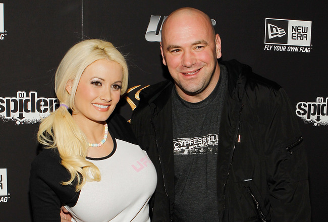 LAS VEGAS - FEBRUARY 15:  Model and television personality Holly Madison (L) and UFC President Dana White arrive at UFC, Famous Stars and Straps and New Era's 'The Magic Party' at XS the nightclub on February 15, 2011 in Las Vegas, Nevada.  (Photo by Isaa