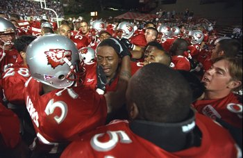 12 Sep 1998:  Players of the New Mexico Lobos rush on the field in celebration after defeating Utah State Aggies 39-36 at University Stadium in Albuquerque, New Mexico.