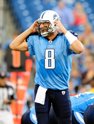 NASHVILLE, TN - AUGUST 13:  Matt Hasselbeck #8 of the Tennessee Titans calls an audible against the Minnesota Vikings during a preseason game at LP Field on August 13, 2011 in Nashville, Tennessee.  (Photo by Grant Halverson/Getty Images)