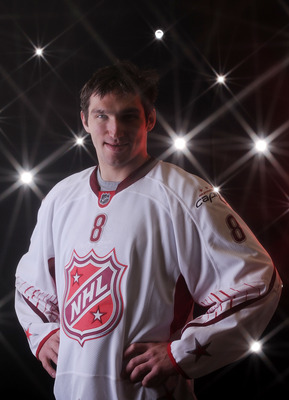 RALEIGH, NC - JANUARY 30:  Alexander Ovechkin #8 of the Washington Capitals poses for a portrait before the 58th NHL All-Star Game at RBC Center on January 30, 2011 in Raleigh, North Carolina.  (Photo by Harry How/Getty Images)