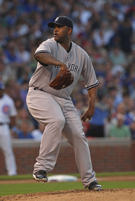 CHICAGO, IL - JUNE 19:  Starting pitcher C.C. Sabathia #52 of the New York Yankees delivers the ball against the Chicago Cubs at Wrigley Field on June 19, 2011 in Chicago, Illinois. The Yankees defeated the Cubs 10-4.  (Photo by Jonathan Daniel/Getty Imag